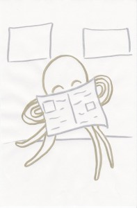 this octopus is reading the paper on the subway.